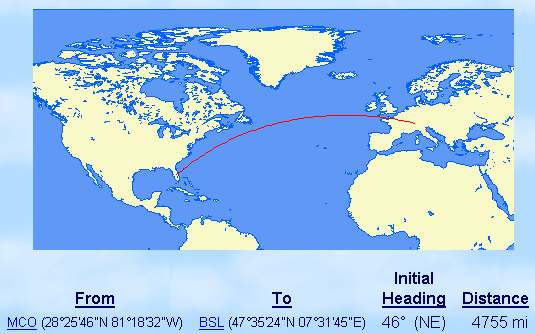 Great Circle route MCO-BSL